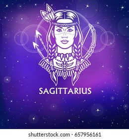 Zodiac sign  Sagittarius.  Fantastic princess, animation portrait. White drawing, background - the night stellar sky. Vector illustration.