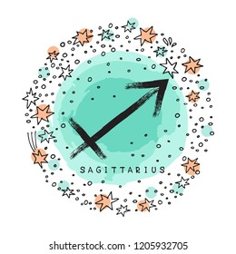 Zodiac sign Sagittarius with ink grunge frame isolated on white background. Zodiac constellation. Design element for horoscope and astrological forecast.