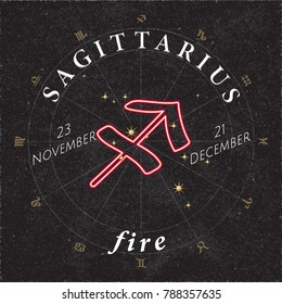 Zodiac Sign Sagittarius Inverted Logo and Fire Lettering with Sagittarius Constellation Stars and Dates in Zodiac Circle - Gold and White Elements on Black Background - Vector Mixed Graphic Design