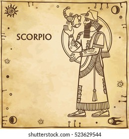 Zodiac sign Scorpio. Drawing based on motives of Sumerian art. Full growth. Background - imitation of old paper, space symbols. The place for the text. Vector illustration.