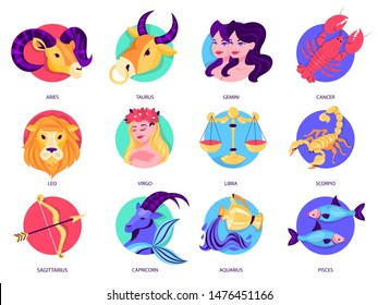 Zodiac sign set. Collection of astrology symbol. Aquarius and lion, scorpion and cancer. Horoscope and astrological calendar. Isolated vector illustration in cartoon style