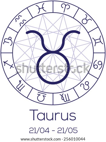 Zodiac Sign Taurus Astrological Chart Symbols Stock Vector Royalty