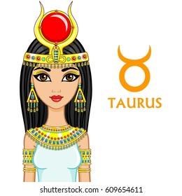 Zodiac sign Taurus. Fantastic princess, animation portrait. Vector illustration isolated on a white background.