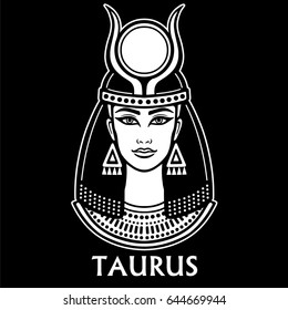 Zodiac sign Taurus. Fantastic princess, animation portrait. Vector monochrome illustration isolated on a black background.