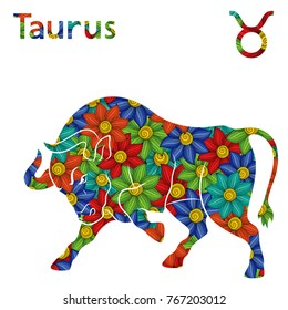 Zodiac sign Taurus with filling of colorful stylized flowers on a white background, vector illustration