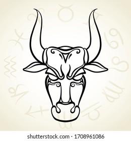 Zodiac sign Taurus silhouette. Vector icon