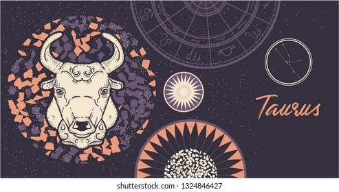 Zodiac sign Taurus. The symbol of the astrological horoscope. Hand-drawn illustration. Horizontal banner. Template for postcard, brochure, page, booklet.