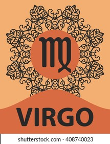 Zodiac sign Virgo. Abstract zodiac sign for talismans, textile prints, tattoo vector illustration on ornamental round lace pattern. Abstract vector tribal ethnic western zodiac star sign on ornate