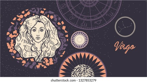 Zodiac sign Virgo. The symbol of the astrological horoscope. Hand-drawn illustration. Horizontal banner. Template for postcard, brochure, page, booklet.