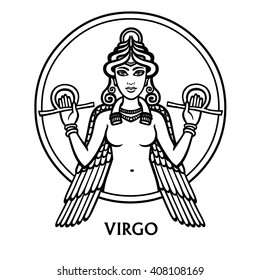 Zodiac sign Virgo. Vector art. Black and white zodiac drawing isolated on white.
