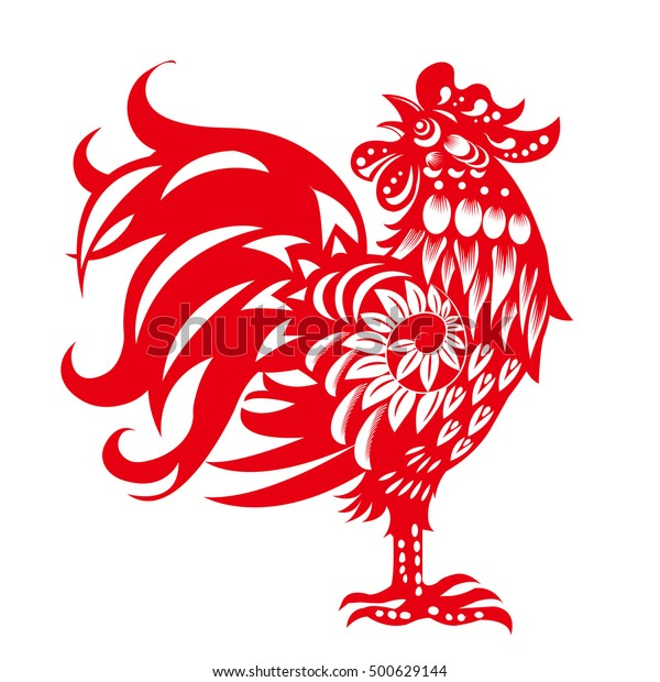Zodiac Sign for Year of Rooster, The Chinese traditional paper-cut art