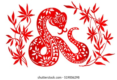Zodiac Sign for Year of Snake, The Chinese traditional paper-cut art