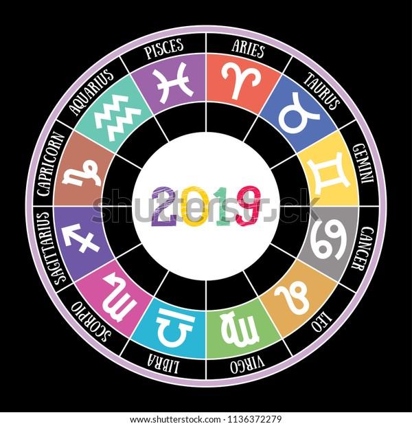 Zodiac Signs 2019 Aquarius Libra Leo Stock Vector (Royalty Free