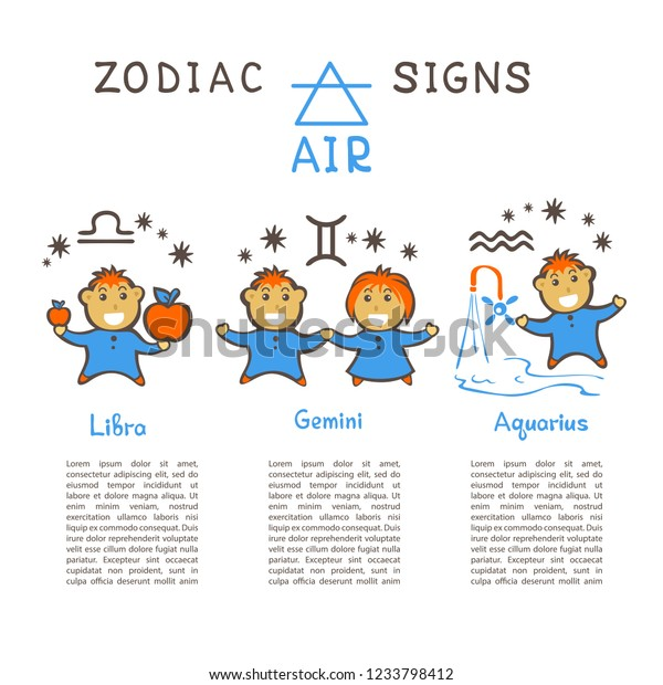 Zodiac Signs According Air Element Gemini Stock Vector (Royalty Free