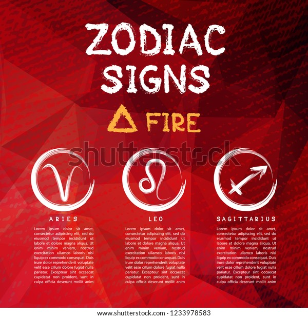 Zodiac Signs According Fire Element Aries Stock Vector