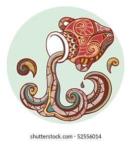 Zodiac signs - Aquarius (colored)