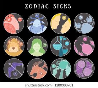 Zodiac signs: aquarius, libra, leo, taurus, cancer, pisces, virgo, capricorn, sagittarius, aries, gemini, scorpio. Astrological calendar collection, zodiacal color vector horoscope. Colorful elements
