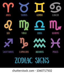Zodiac signs: aquarius, virgo, capricorn, sagittarius, aries, gemini, scorpio, libra, leo, pisces, taurus, cancer. Astrological calendar collection, zodiacal pictogram, color line vector horoscope