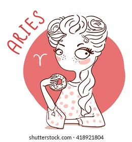 Zodiac signs Aries. Vector illustration of the girl.