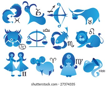 zodiac signs with astral symbols