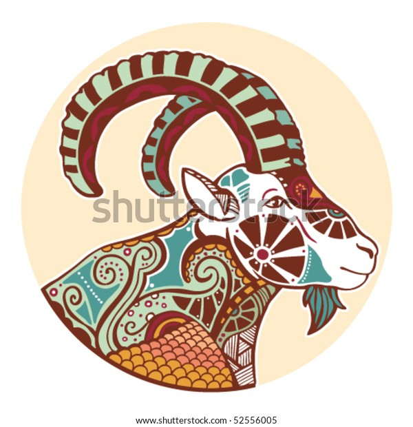 Zodiac Signs Capricorn Colored Stock Vector (Royalty Free ...