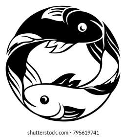 Zodiac signs circular Pisces fish horoscope astrology symbol
