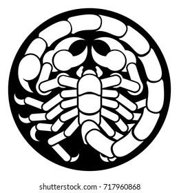 Zodiac signs circular Scorpio scorpion horoscope astrology symbol