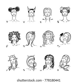 Zodiac signs collection. Beautiful fashion zodiac girl. Horoscope series. Ink hand drawn Vector illustration