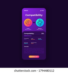 Zodiac signs compatibility app smartphone interface vector template. Mobile app page night mode design layout. Horoscope match screen. Flat UI for application. Aries and pisces signs on phone display