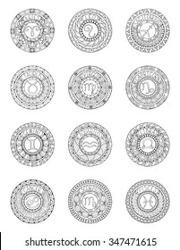 Zodiac signs and constellations in mandala with ethnic pattern. Set of black and white icons. Horoscopes and zodiacal infographics template. can used for adult and kids coloring book.