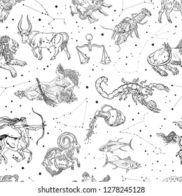 Zodiac signs and constellations seamless pattern. Aries, Taurus, Gemini, Cancer, Leo, Virgo, Libra, Scorpio, Sagittarius, Capricorn, Aquarius, Pisces Horoscope symbols. Vintage engraving tattoo style.
