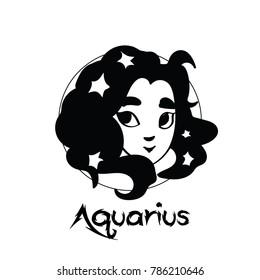 Zodiac Signs of cute female Aquarius character