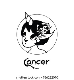 Zodiac Signs of cute female Cancer  character