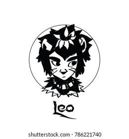 Zodiac Signs of cute female Leo character
