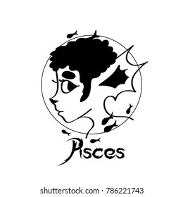 Zodiac Signs of cute female Pisces character
