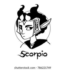 Zodiac Signs of cute female Scorpio  character