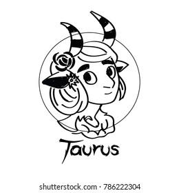 Zodiac Signs of cute female Taurus  character