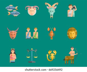 Zodiac signs flat set of horoscope symbols star collection astrology ascendant figure nativity vector astrological calendar illustration