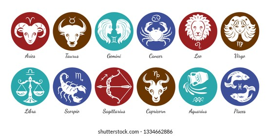 Zodiac signs icon set. Aries, leo, gemini, taurus, scorpio, aquarius, pisces, sagittarius, libra, virgo, capricorn and cancer. Vector illustration in cartoon simple style. Template for laser cutting.