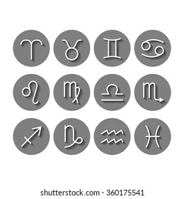 Zodiac signs icons for horoscopes, predictions
