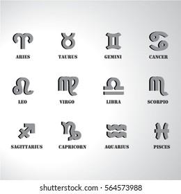 Zodiac signs icons set illustration