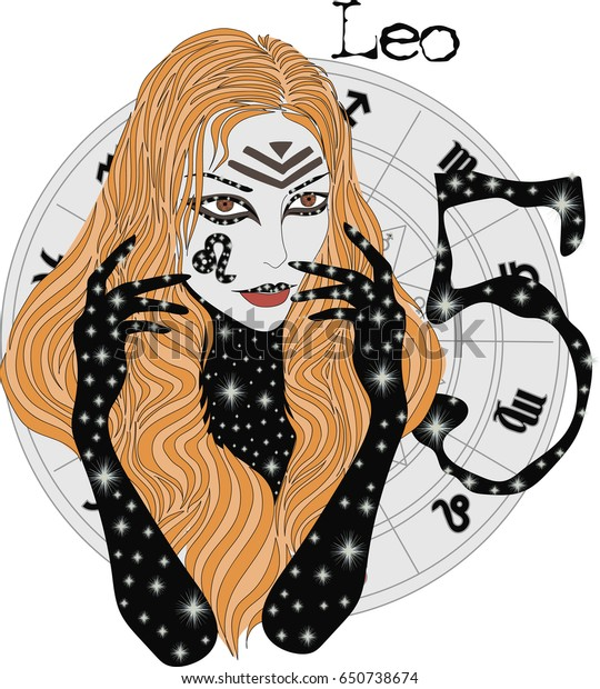 Zodiac Signs Leo Vector Illustration Girl Stock Vector (Royalty Free
