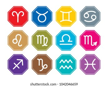 Zodiac signs line icon: Aries, Taurus, Twins (Gemini), Cancer, Lion (Leo), Maid (Virgo), Scales (Libra), Scorpion (scorpio), Sagittarius, Capricorn, Aquarius, Fish (pisces). Colorful set