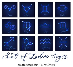 Zodiac signs in neon glowing style .Vector illustration