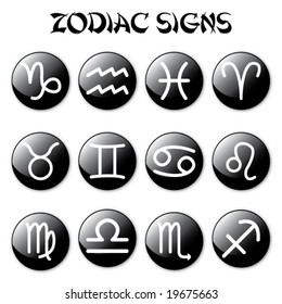 zodiac signs on black