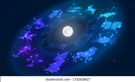 Zodiac signs revolve around the moon in space, astrology and horoscope
