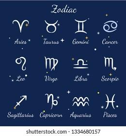Zodiac signs set. Aries, leo, gemini, taurus, scorpio, aquarius, pisces, sagittarius, libra, virgo, capricorn and cancer. Template for astrological horoscope.