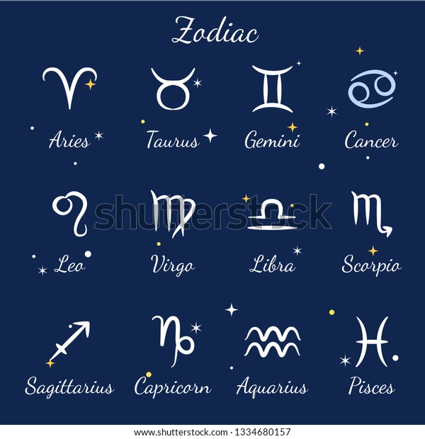 Zodiac Signs Set Aries Leo Gemini Stock Vector (Royalty Free