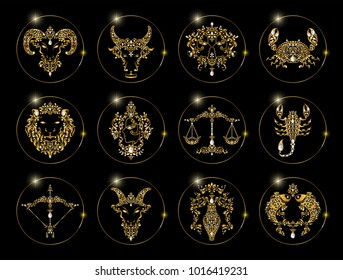 zodiac signs set of horoscope symbols astrology icons collection with gold patterned and crystals on paper color