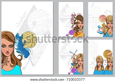 Zodiac Signs Set Templates Beautiful Women Stock Vector